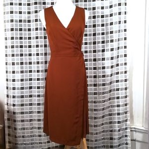 Forever 21, Milk Brown Pleated Wrap Dress